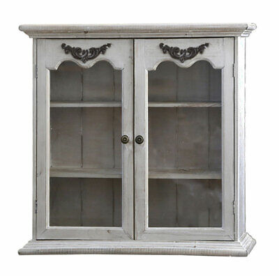French antique style shabby chic glazed bathroom bedroom double wall cabinet