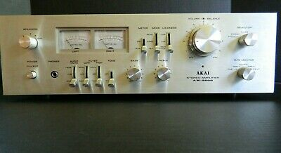 Vintage Akai Stereo Amplifier, Am-2600. Brushed Aluminum Face
