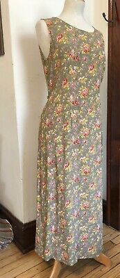 April Cornell -Sz M Charming Vintage 90s Reversible Rayon Shabby Chic Dress