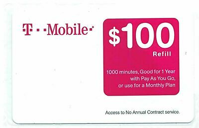 T-MOBILE $100 PREPAID REFILL CARD, New Unscratched, Fast ebay message delivery