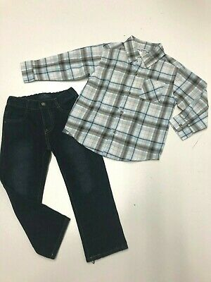 Boy Outfit Long Sleeve Gymboree Plaid Shirt Elastic Waist Lucky Brand Jeans 3-4