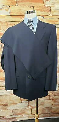 """Hickey Freeman Navy Blue Striped Mens  Suit 43L-Pure Wool  36X33"""" Pleated Pants"""
