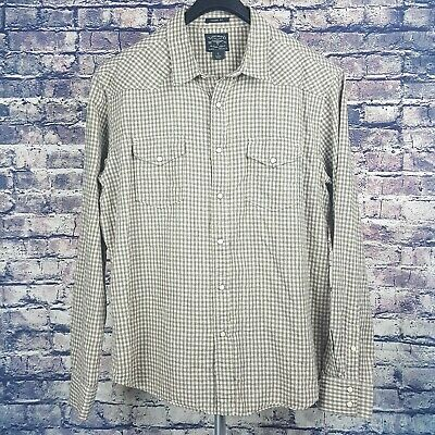 91edf314 LUCKY BRAND Mens Beige Black Check Western Pearl Snap Shirt Large L Classic