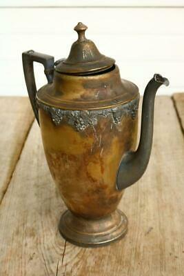 Vintage Ornate Silver Plate Tea Pot Unusual Props Decor Haunted Old Estate BT