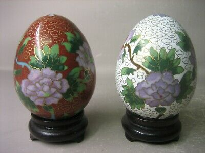 Pair collectable hand-made cloisonné enamel eggs