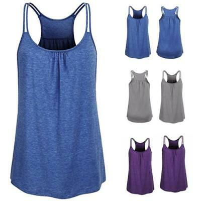Womens Summer Casual Loose O-Neck Tops Vest Tank T-shirts Blouse JJ