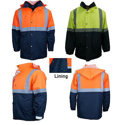 Hi-Vis Rain Jacket Work Reflective Tape Safety Windproof Warm Jacket PPE