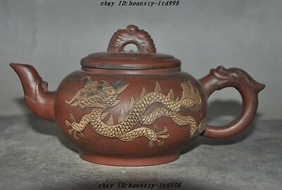 "7"" Old Chinese Yixing Zisha Pottery Carved Dragon Phoenix Statue Teapot Tea set"