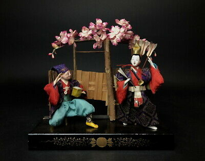 2 Antique NINGYO Japanese SAMURAI MUSHA Doll Young & Old Men