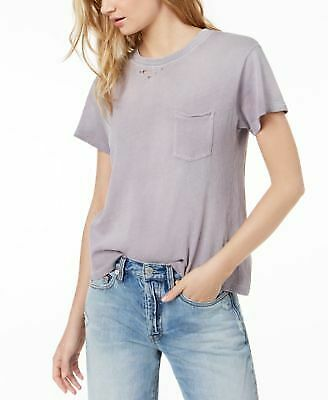 f53e87d53 FREE PEOPLE $58 Womens New 1072 Purple Frayed Pocketed Ripped Neck Top XS  B+B