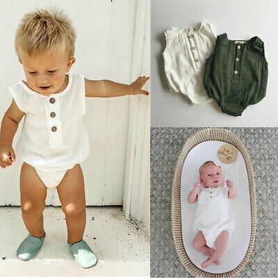 Toddler Baby Girl Boy Kid Sleeveless Cotton Romper Jumpsuit Outfit Summer Cloths