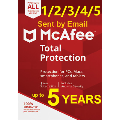 Mcafee Total Protection  2019 Unlimited Devices mac win android 1/2/3/4/5 Years
