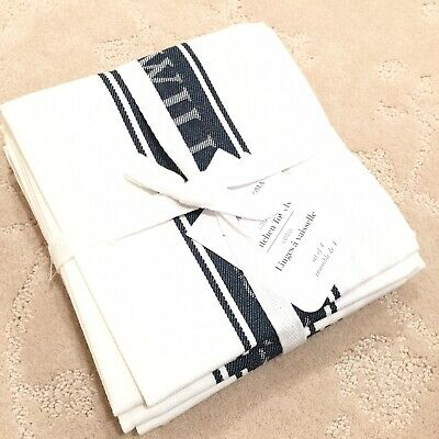 NEW Williams Sonoma Set of 4 New Classic Logo Kitchen Dish Towels Navy Blue
