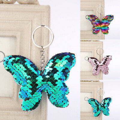 1pc Women Sequin Pendant Key Chain Alloy Butterfly Keyring Keyfob Cute Charm Bag