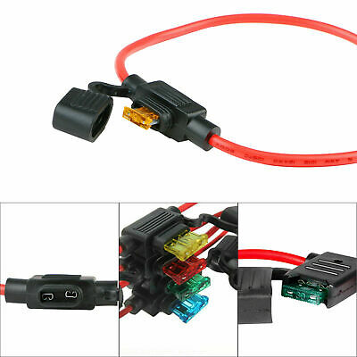 5Pc ATC Fuse Holder Box IN-LINE AWG Wire Copper Socket 12V 30A 16 Gauge Sales