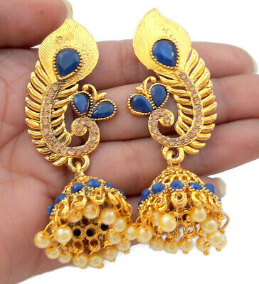 Dark Blue Lct Pearl Golden Tone Peacock Jhumki Jhumka Earrings Indian Jewelry