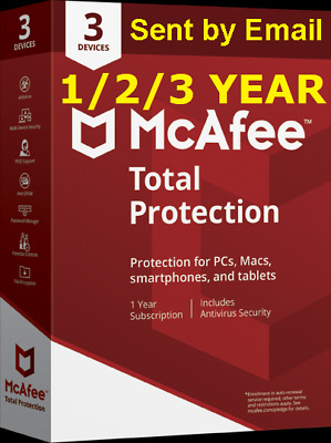 Mcafee Total Protection 2020 3 PC/Devices 1/2/3 Years Antivirus 2019 Download