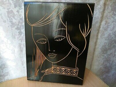 Vintage wooden wall plaque Picture carving woman USSR SOVIET