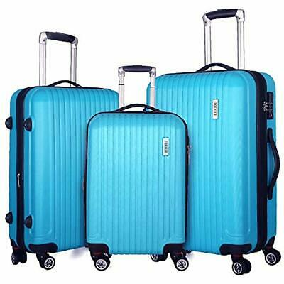 Luggage Sets 3 Piece Expandable Lightweight Spinner Suitcase TSA Lock (Sky Blue)