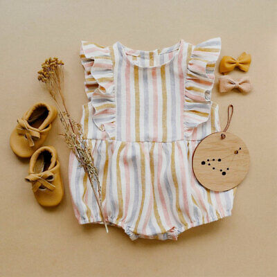 AU Toddler Baby Girl Striped Romper Bodysuit Jumpsuit Casual Outfit Clothes Tops