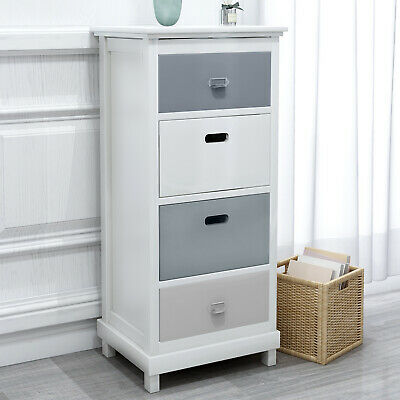 Tall Chest of 4 Drawers Solid Wood Large Storage Bedside Cabinet Unit