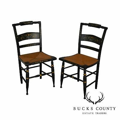 Hitchcock Nichols & Stone Pair Black & Gold Stenciled Rush Seat Chairs