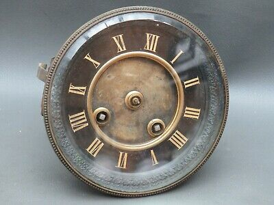 Antique French clock movement dial and door Japy Freres & Cie spares or parts