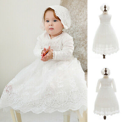 Newborn Baby Girls Christening Baptism Long Dress & Hat White Lace Gown Outfits