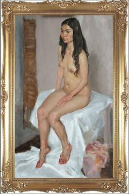 """Hand-painted Original Oil Painting art Portrait nude Girl on canvas 24""""x40"""""""