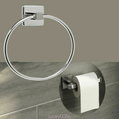 Polished Chrome Bathroom Toilet Roll Holder and Towel Ring Set Fittings