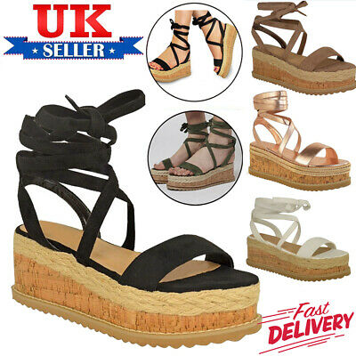 Womens Ladies Flat Lace Up Tie Up Espadrilles Platform Shoes Wedge Sandals Size
