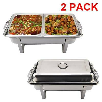 1x2 PACK STAINLESS STEEL CHAFING DISH SETS WITH 2 EXTRA FOOD PANS & SPOONS UK