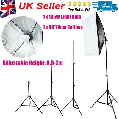 135W Continuous Lighting 1X Softbox Photography Studio Soft Box Light Stand Kit