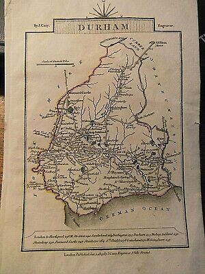 Durham (County) V.unusual J Cary Map:aligned West To Top: 1819 Regency Engraving