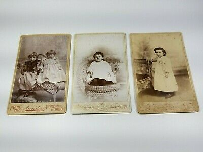 Cabinet Cards Photos Victorian Children Morristown N.J. Wicker Chairs 3 Antique