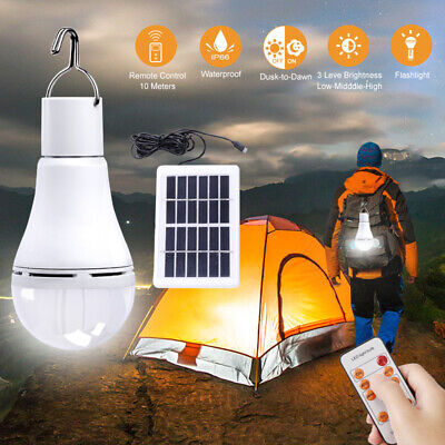Solar Powered Panel LED Light Bulb Hook Outdoor Hiking Tent Lamp USB Rechargable