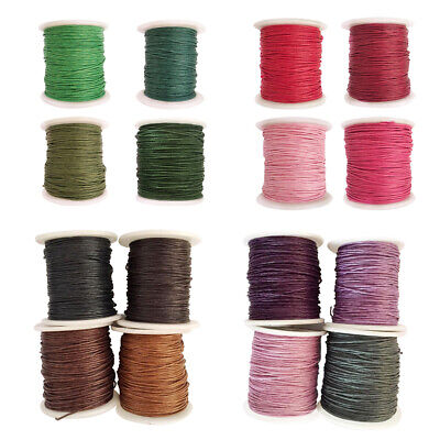 16 Rolls 1mm Dia Waxed Cotton Cord String Jewelry Making Findings 80m/Roll