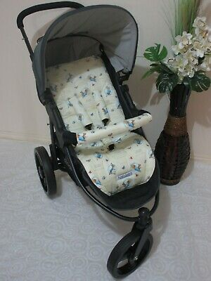Stroller,pram liner set,universal,100% cotton fabric-Peter rabbit-reversible