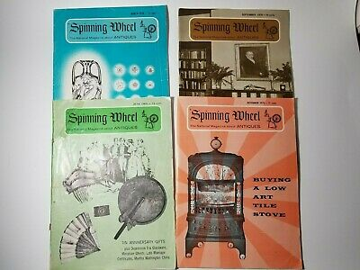Spinning Wheel Antiques Magazines 1969-1970 4 Vintage Old Ads Illustrations Book