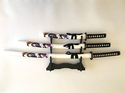 Collectable BLUE Dragon Japanese Samurai Katana 3 Swords Set with Free Stand
