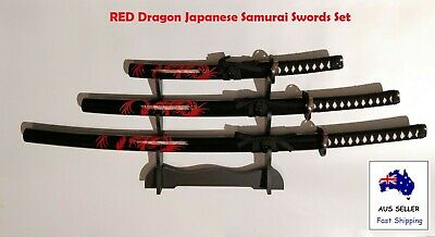 Collectable RED Dragon Japanese Samurai Katana 3 Swords Set with Free Stand