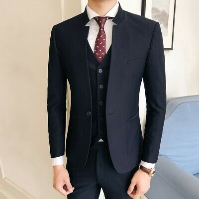 Mens Slim fit 3 Piece Chinese tunic suit jackets Vest Pants Business Formal New