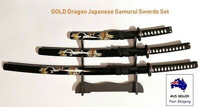 Collectable GOLD Dragon Japanese Samurai Katana 3 Swords Set with Free Stand