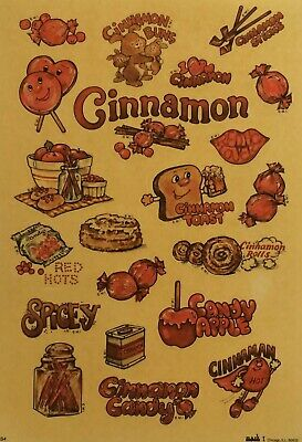21 CINNAMON Scented Scratch & Sniff Stickers Sheet Mark 1 Chicago ILL 1983 NOS
