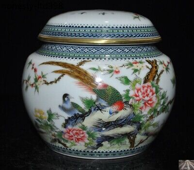 Marked China wucai Porcelain Glaze painted peach Flower Bird tank pot crock jar