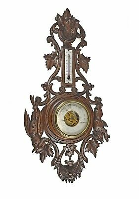 Antique Hunting Scene Carved Barometer / Thermometer, French.