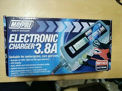 MAYPOLE 7423 Electronic Car Battery Charger 3.8 A Fast/Trickle/Pulse Modes