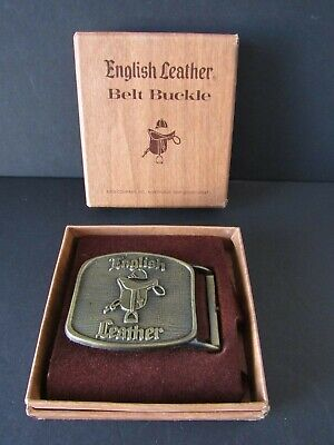 Vintage 1970's, English Leather Belt Buckle, In Original Box. Good Condition!
