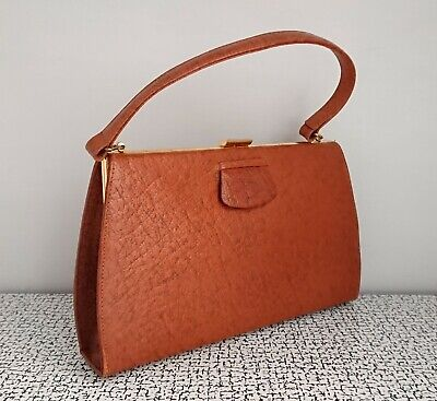 50s 60s Vintage Tan Brown Leather Handbag Clutch Bag Purse Grace Kelly Style
