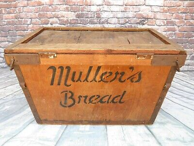 """Rare Antique/Vintage Muller's Bread Wooden Advertising Crate/Box Large 29 x 18"""""""